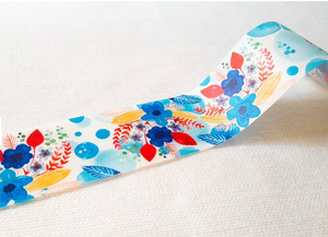 Hobby Life Washi Masking Tape Roll Blue Leaves and Flower Watercolor