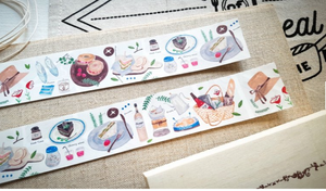 Hobby Life Washi Masking Tape Roll Picnic Food Watercolor