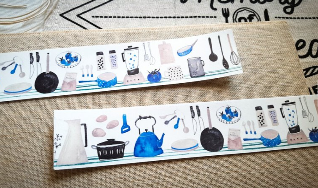 Hobby Life Washi Masking Tape Roll Blue Version Kitchen Watercolor