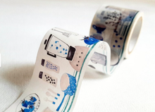 Load image into Gallery viewer, Hobby Life Washi Masking Tape Roll Blue Version Kitchen Watercolor