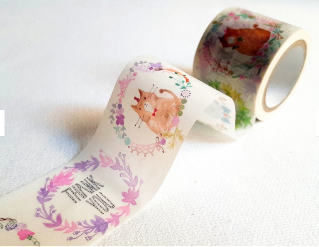 Hobby Life Washi Masking Tape Roll Light Cream Cat Watercolor