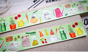 Hobby Life Washi Masking Tape Roll Green Gardening Plants Vegetables Watercolor