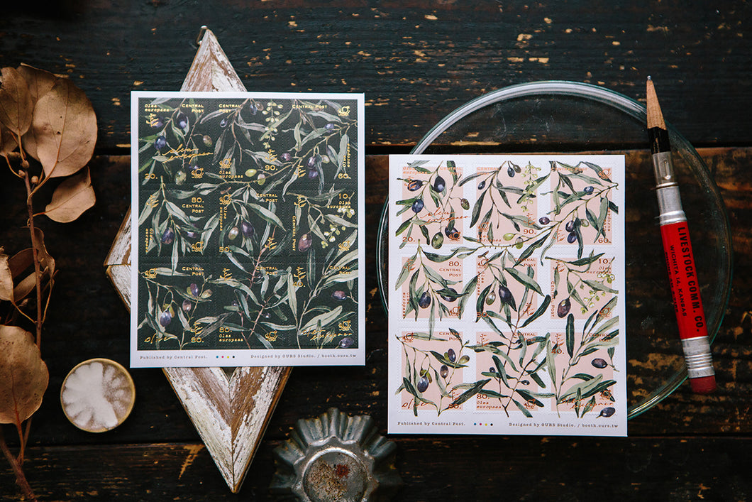 OURS Studio Olive Branches Stamp Style Sticker Set Pack