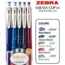 Load image into Gallery viewer, Zebra Sarasa Clip Vintage Color Pens .05mm 5 Colors