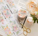[Samples Only] Meow Illustration Austin Roses Flowers Masking Washi Tape