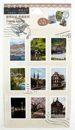 Chuyu Culture Stamp Sticker Sheet International Worldwide Scenery