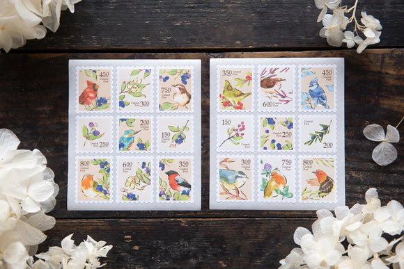 OURS Studio Birds Central Post Stamp Style Sticker Set Pack