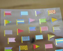 Load image into Gallery viewer, Ethos Card Originals Colorful Flags Design Gold Foiled Sticker Sheet