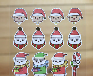 Machiko Gold Foiled Sticker Sheet Christmas