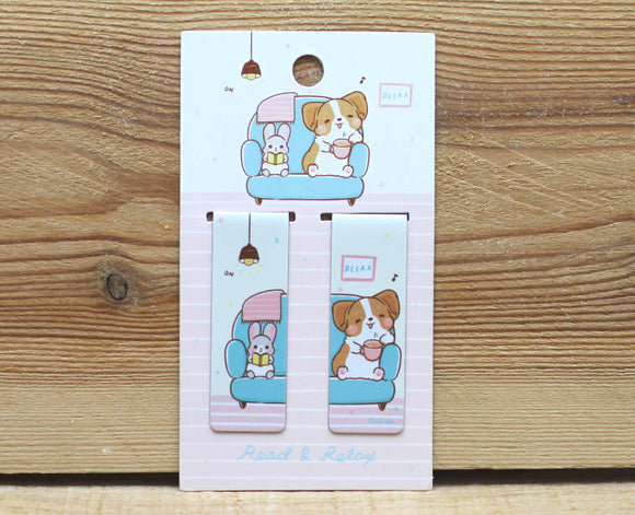 Corgi Kaka Magnetic Bookmark Set of 2