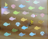 Ethos Card Originals Blue Fish Design Gold Foiled Sticker Sheet