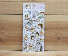 Load image into Gallery viewer, Liang Feng Watercolor Cat Sticker Sheet Gold Foiled