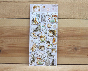 Liang Feng Watercolor Cat Sticker Sheet Gold Foiled
