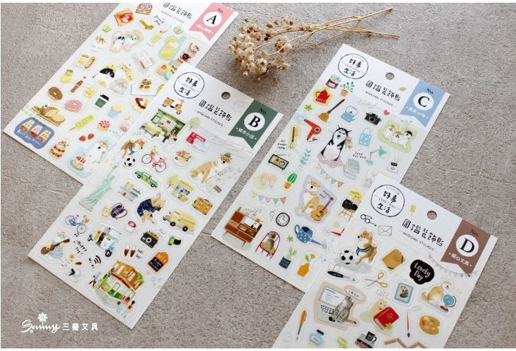SUNNY CO. Daily Living Good Living Sticker Sheets A B C D