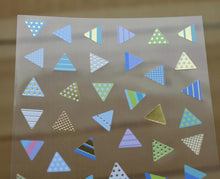 Load image into Gallery viewer, Ethos Card Originals Blue Triangle Design Gold Foiled Sticker Sheet