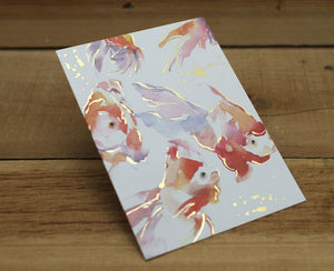 Liang Feng Watercolor Fish Gold Foiled Card