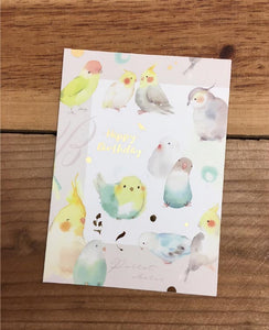 Liang Feng Watercolor Parrot Happy Birthday Card