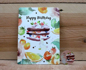 Liang Feng Watercolor Rabbit Happy Birthday Card