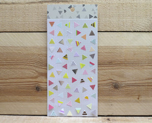 Ethos Card Originals Pink Triangle Design Gold Foiled Sticker Sheet