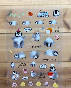 Cindy Chu Illustration Penguin Planner Transparent Sticker Sheet