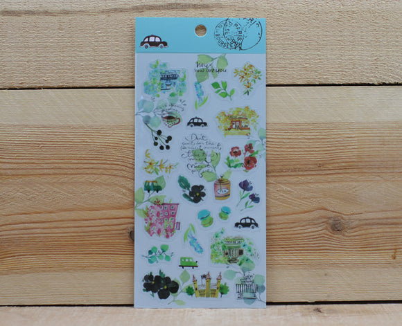Jan Hsuan's Illustration Flower Transparent Sticker Sheet
