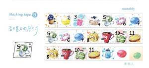 C.Ching Daily Number Day Dessert Monthly Washi Tape Roll