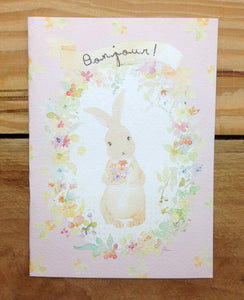 Liang Feng Watercolor Rabbit Bonjour Card