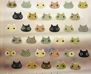 CAT CAT Kraft Brown Cat Simple Design Gold Foiled Sticker Sheet