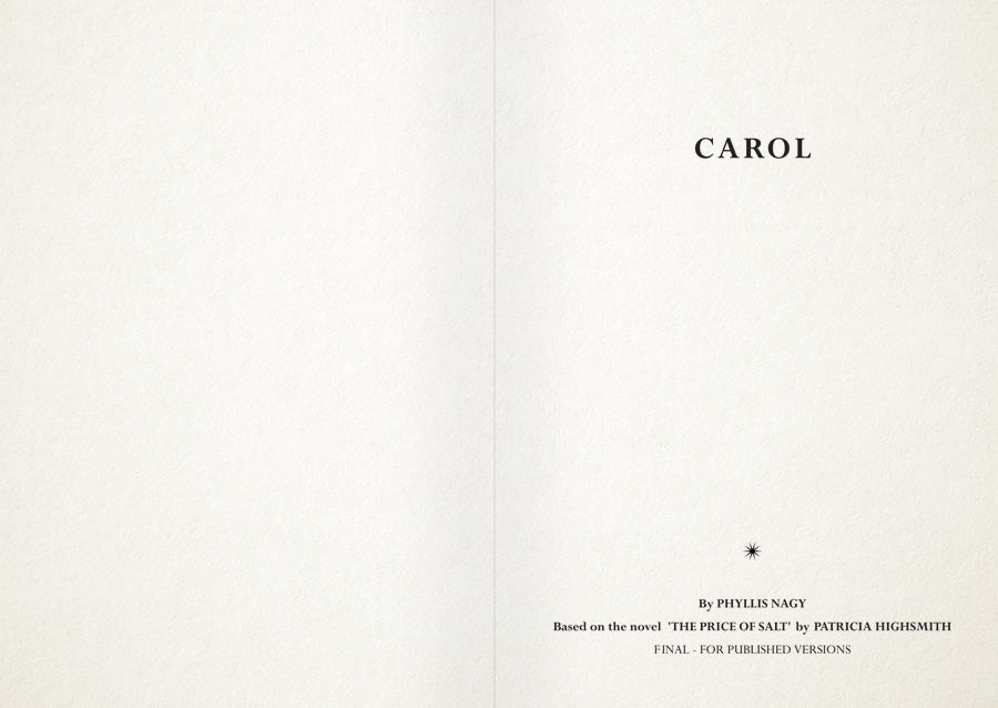 CAROL: Original Screenplay (2nd Press Edition)