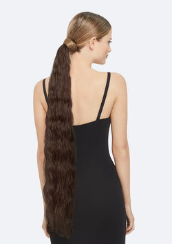 Crimpy Ponytail On Band - The Lily - Dark Brown