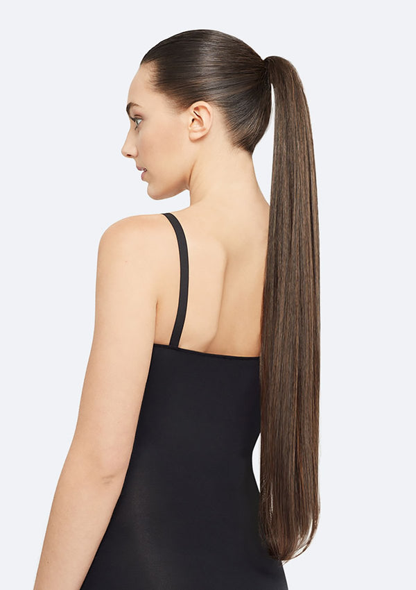 Straight Ponytail On Band - The Lucy - Dark Brown