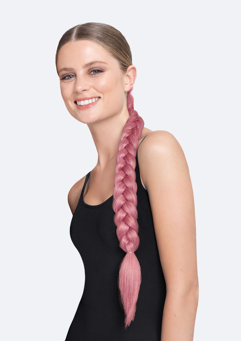 Thick Braid On Band - The Poppy - Flamingo
