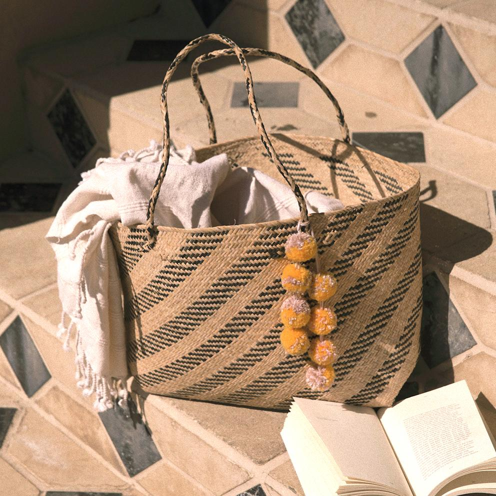 Borneo Sani Stripes Straw Tote Bag - with Marigold Tiered Pom-poms - Tiny Town Essentials