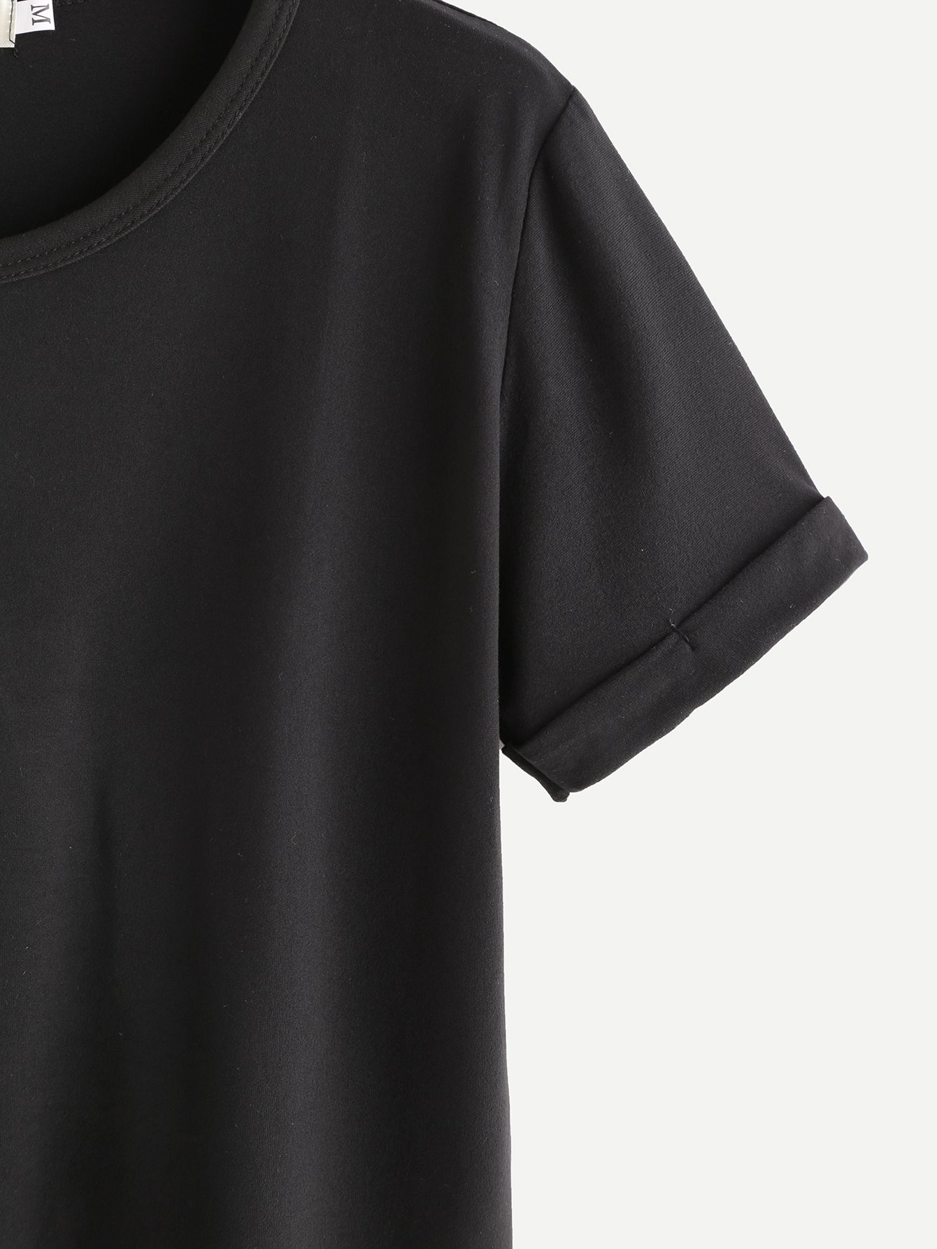 Black Rolled Sleeve Basic T-shirt