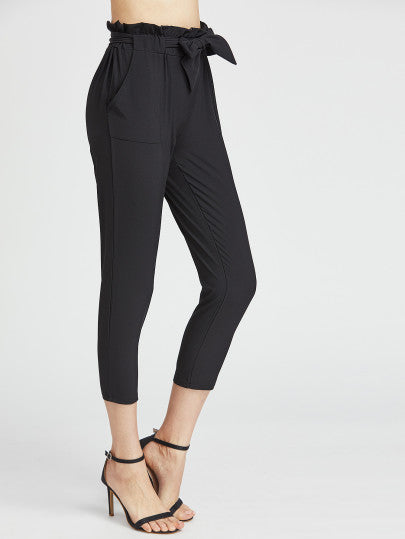 Black Ruffle Waist Self Tie Capri Pants - Tiny Town Essentials