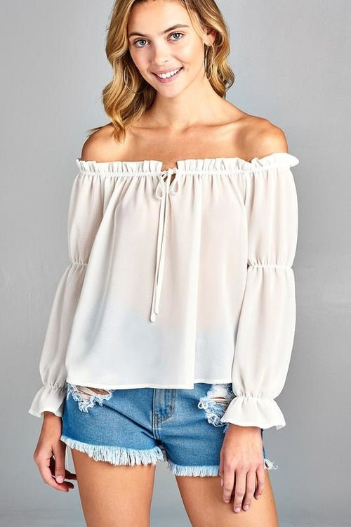 Women's Puff Long Sleeve Ruffled Front Tie Off - Tiny Town Essentials