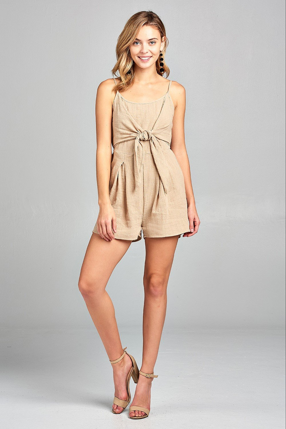 Women's Front Tie Tank Romper with Open back - Tiny Town Essentials