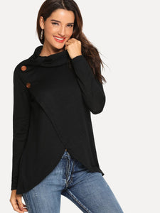 Button Decoration High Neck Sweater - Tiny Town Essentials