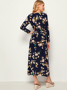 Allover Floral Print Elastic Waist Plicated Dress - Tiny Town Essentials