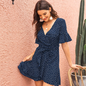 Surplice Polka Dot Belted Dress - Tiny Town Essentials