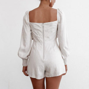Cotton Blue Square Collar Short Rompers - Tiny Town Essentials