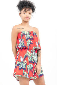 Red Flounce Bardot Tropical Playsuit - Tiny Town Essentials