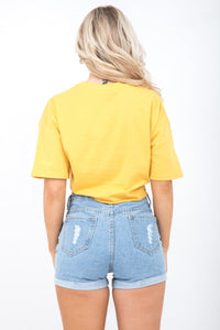 Yellow Tie Front Floral Embellished T-Shirt - Tiny Town Essentials
