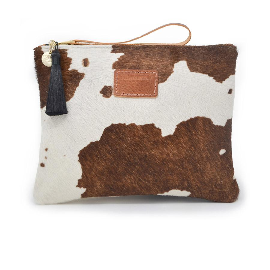 Charlotte Oversized Clutch - Cow Print - Tiny Town Essentials