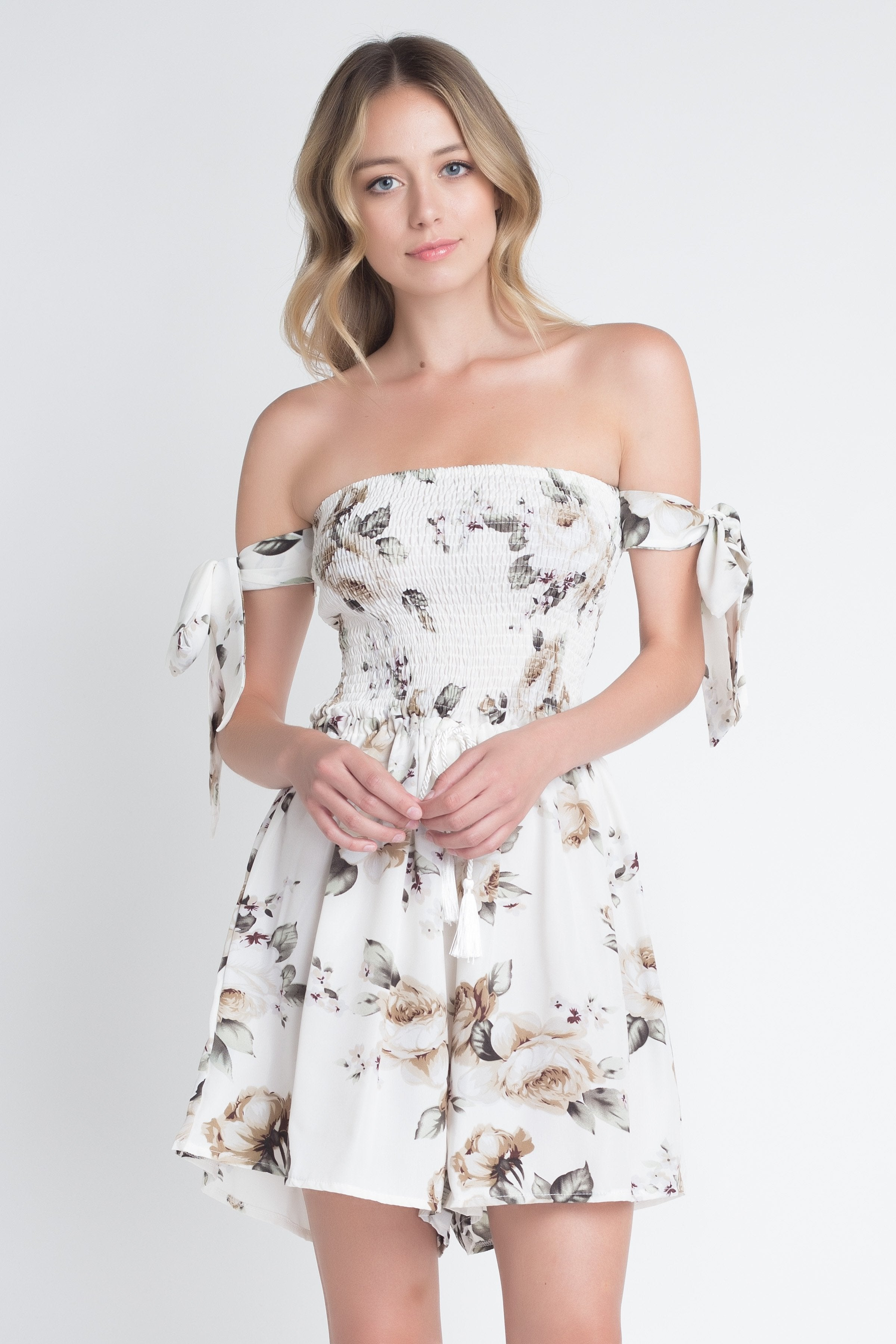 Women's Off Shoulder Smocked Floral Tie Romper - Tiny Town Essentials