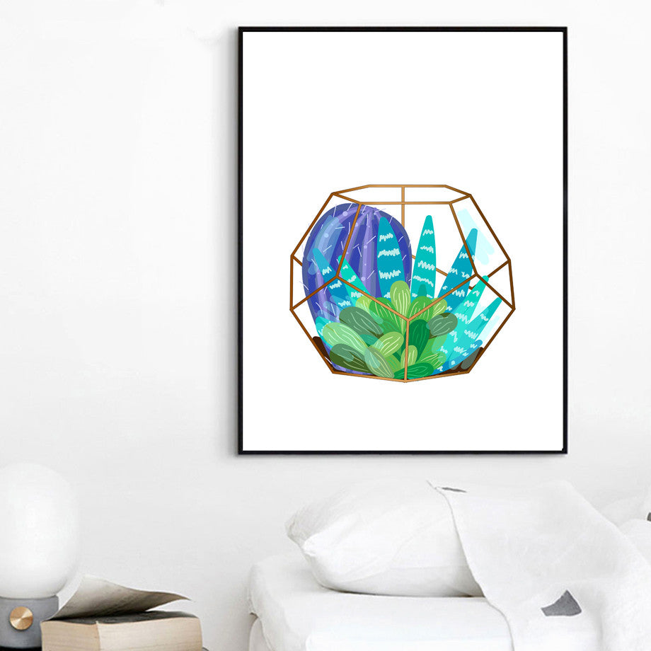 Hanging Basket Cactus Wall Art Canvas - Tiny Town Essentials