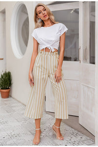 Casual Striped Wide-leg Pants Women Spring Summer - Tiny Town Essentials