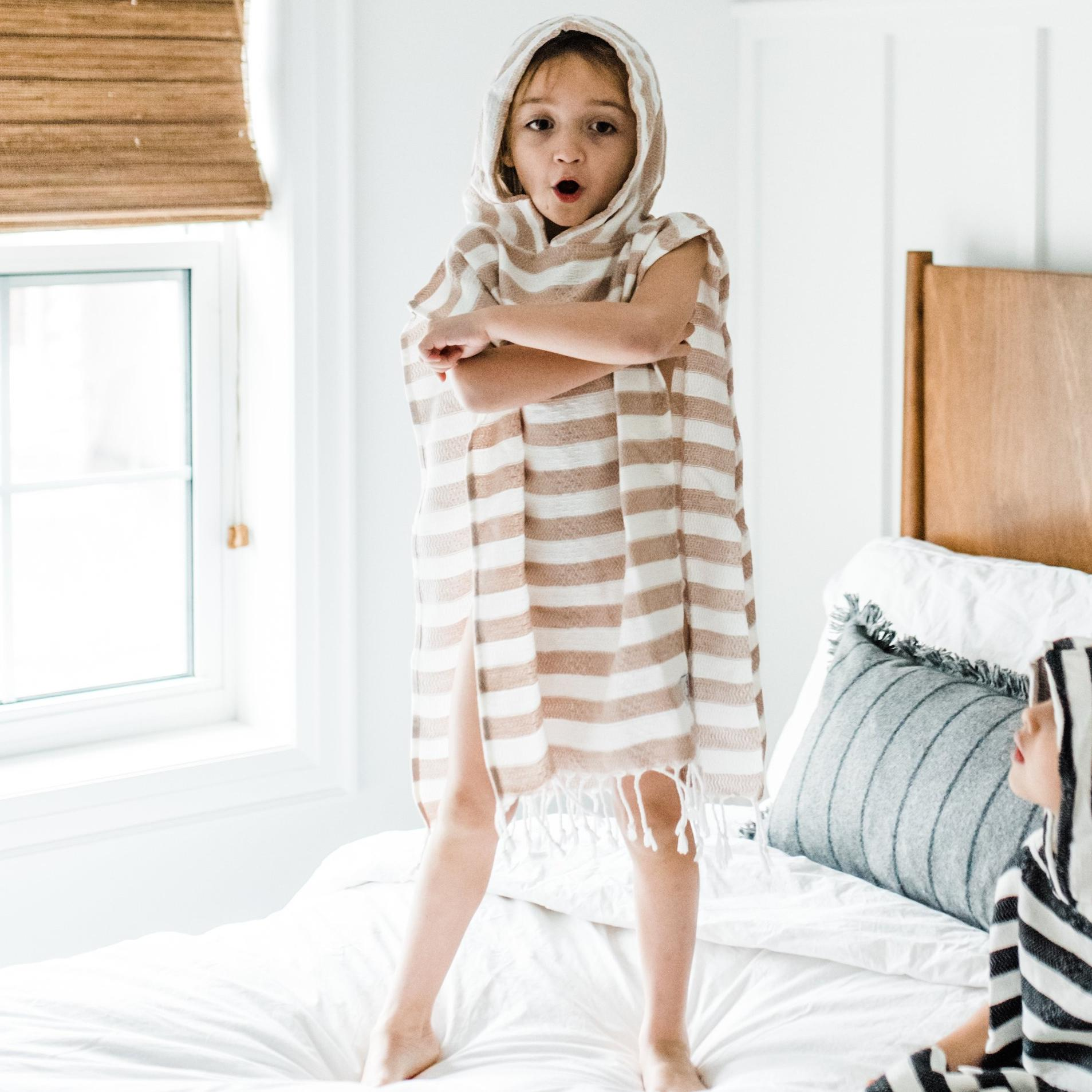 Child Poncho Turkish Towel Fawn - Tiny Town Essentials