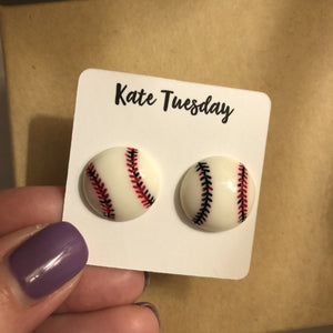 Baseball Stud Earrings- 2 sizes - Tiny Town Essentials