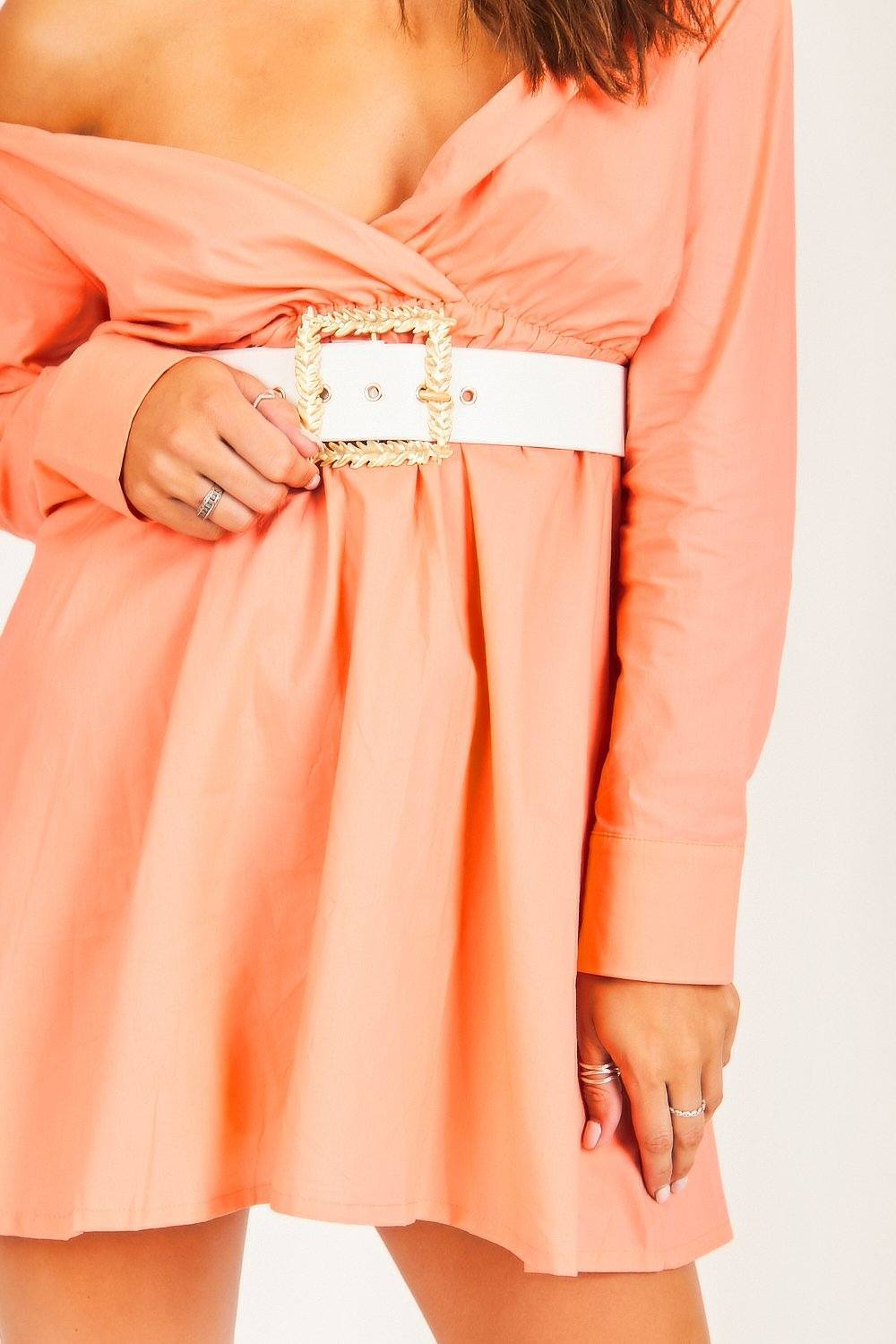 Orange Bardot Western Belt Dress - Tiny Town Essentials